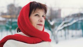 Πορτρέτο της γυναίκας eldery στο χειμώνα απόθεμα βίντεο