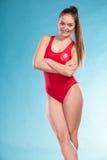 Πορτρέτο της γυναίκας lifeguard lifesaver Στοκ εικόνες με δικαίωμα ελεύθερης χρήσης