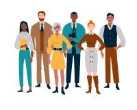 Πορτρέτο της επιχειρησιακής ομάδας που στέκεται από κοινού Πολυφυλετικοί επιχειρηματίες διανυσματική απεικόνιση
