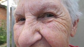Πορτρέτο της ευτυχούς ηλικιωμένης γυναίκας που χαμογελά και που εξετάζει τη κάμερα έξω Κλείστε το επάνω ζαρωμένο πρόσωπο γκρίζος- απόθεμα βίντεο