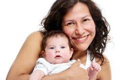Πορτρέτο της ευτυχούς μητέρας με το μωρό στοκ εικόνα