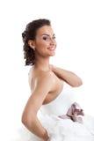 Πορτρέτο της ευτυχούς νέας νύφης, κινηματογράφηση σε πρώτο πλάνο στοκ φωτογραφία με δικαίωμα ελεύθερης χρήσης