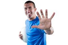 Πορτρέτο της ευτυχούς υπεράσπισης φορέων ράγκμπι στοκ εικόνες