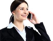 Όμορφη νέα επιχειρηματίας με το τηλέφωνο Στοκ Φωτογραφίες