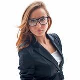Πορτρέτο της ελκυστικής γυναίκας με τα γυαλιά στοκ εικόνα