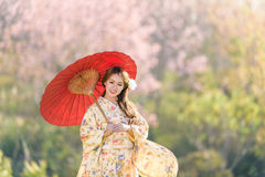 Πορτρέτο της ιαπωνικής παραδοσιακής γυναίκας Στοκ φωτογραφία με δικαίωμα ελεύθερης χρήσης
