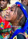 Πορτρέτο της διαστισμένης γυναίκας Poli, Καμερούν φυλών Wodaabe aka Mbororo Στοκ φωτογραφίες με δικαίωμα ελεύθερης χρήσης