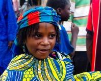 Πορτρέτο της διαστισμένης γυναίκας Poli, Καμερούν φυλών Wodaabe aka Mbororo Στοκ Εικόνα