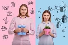 Πορτρέτο της λατρευτής εκμετάλλευσης ζευγών με τα βάρη χεριών και εγκαταστάσεις Στοκ Εικόνες