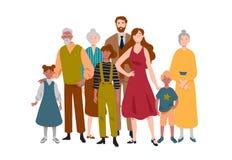 Πορτρέτο της μεγάλης οικογένειας Μητέρα, πατέρας, παιδιά, γιαγιά, παππούς απεικόνιση αποθεμάτων