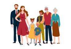 Πορτρέτο της μεγάλης οικογένειας Μητέρα, πατέρας, παιδιά, γιαγιά, παππούς ελεύθερη απεικόνιση δικαιώματος