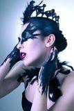 Πορτρέτο της μυστήριας νέας γυναίκας. Μαύρος κύκνος Στοκ φωτογραφία με δικαίωμα ελεύθερης χρήσης