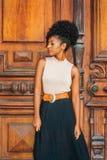 Πορτρέτο της νέας γυναίκας αφροαμερικάνων στη Νέα Υόρκη, με το afro hairstyle, καρφίτσα χαντρών αυτιών, που φορά την αμάνικη ελαφ στοκ φωτογραφία με δικαίωμα ελεύθερης χρήσης