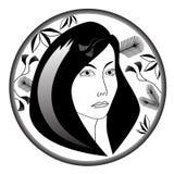 Πορτρέτο της νέας γυναίκας με τα floral κίνητρα στον κύκλο διανυσματική απεικόνιση