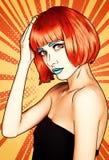Πορτρέτο της νέας γυναίκας στο κωμικό λαϊκό ύφος σύνθεσης τέχνης Θηλυκό ι απεικόνιση αποθεμάτων