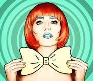 Πορτρέτο της νέας γυναίκας στο κωμικό λαϊκό ύφος σύνθεσης τέχνης Θηλυκό ι ελεύθερη απεικόνιση δικαιώματος