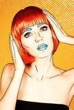 Πορτρέτο της νέας γυναίκας στο κωμικό λαϊκό ύφος σύνθεσης τέχνης Θηλυκό ι διανυσματική απεικόνιση