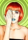 Πορτρέτο της νέας γυναίκας στο κωμικό λαϊκό ύφος σύνθεσης τέχνης θηλυκό διανυσματική απεικόνιση