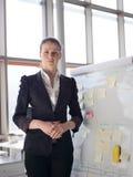 Πορτρέτο της νέας επιχειρησιακής γυναίκας στο σύγχρονο γραφείο Στοκ Φωτογραφίες