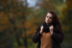 Πορτρέτο της νέας μοντέρνης γυναίκας που φορά το πλεκτά πουλόβερ και το snoo στοκ φωτογραφία με δικαίωμα ελεύθερης χρήσης