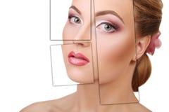 Πορτρέτο της νέας, υγιούς και όμορφης πλαστικής χειρουργικής γυναικών, Στοκ Εικόνες