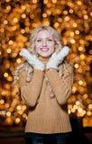 Πορτρέτο της νέας όμορφης γυναίκας με τη μακριά δίκαιη τρίχα υπαίθρια σε μια κρύα χειμερινή ημέρα. Όμορφο ξανθό κορίτσι στα χειμερ Στοκ Φωτογραφίες