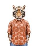 Πορτρέτο της τίγρης στο θερινό πουκάμισο διανυσματική απεικόνιση