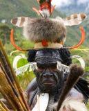 Πορτρέτο της φυλής της Dani όμορφα headdress φιαγμένα από φτερά Στοκ Εικόνες