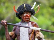 Πορτρέτο της φυλής της Dani όμορφα headdress φιαγμένα από φτερά Στοκ Φωτογραφίες
