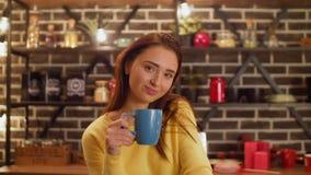 Πορτρέτο της χαμογελώντας νέας νοικοκυράς στην κουζίνα απόθεμα βίντεο