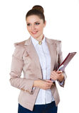Πορτρέτο της χαμογελώντας επιχειρησιακής γυναίκας με το φάκελλο εγγράφου Στοκ εικόνες με δικαίωμα ελεύθερης χρήσης