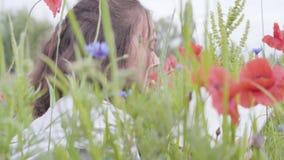 Πορτρέτο της χαριτωμένης λατρευτής συνεδρίασης γυναικών στο βιβλίο ανάγνωσης τομέων παπαρουνών και της εξέτασης smilling τη κάμερ απόθεμα βίντεο