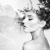 Πορτρέτο της όμορφης αισθησιακής γυναίκας με το κομψό hairstyle Στοκ Εικόνες