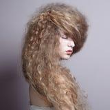 Πορτρέτο της όμορφης γυναίκας με το κομψό hairstyle Στοκ Φωτογραφία