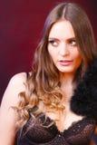 Πορτρέτο της όμορφης γυναίκας που φορά αισθησιακό lingerie στοκ φωτογραφία