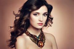 Πορτρέτο της όμορφης γυναίκας brunette με το σκουλαρίκι. Τέλειο makeu στοκ εικόνες με δικαίωμα ελεύθερης χρήσης