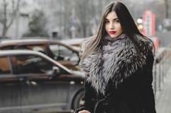Πορτρέτο της όμορφης γυναίκας brunette στη γούνα που έχει τη διασκέδαση Στοκ εικόνα με δικαίωμα ελεύθερης χρήσης