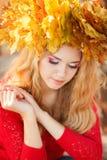 Πορτρέτο της όμορφης νέας γυναίκας στο πάρκο φθινοπώρου στοκ φωτογραφίες