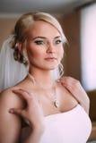 Πορτρέτο της όμορφης νύφης με το πέπλο μόδας στοκ εικόνα