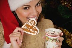 Πορτρέτο της όμορφης χαμογελώντας νέας γυναίκας με τα μπισκότα κοντά σε Chri Στοκ εικόνες με δικαίωμα ελεύθερης χρήσης