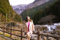 Πορτρέτο της Irene στην κοιλάδα κόλασης, Jigokudani, Ιαπωνία στοκ εικόνες