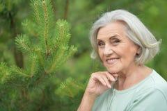 Πορτρέτο τοποθέτησης γυναικών χαμόγελου της ηλικιωμένης υπαίθρια Στοκ εικόνα με δικαίωμα ελεύθερης χρήσης