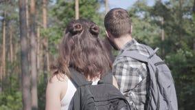 Πορτρέτο του άνδρα και της νέας γυναίκας που περπατούν ανά το δασικό ζευγάρι των ταξιδιωτών με τα σακίδια πλάτης υπαίθρια Ζεύγη ε απόθεμα βίντεο