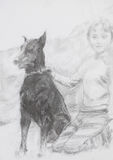 Πορτρέτο του αγοριού και του σκυλιού του Στοκ Εικόνες