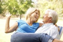 Πορτρέτο του ανώτερου ζεύγους που απολαμβάνει την ημέρα στο πάρκο στοκ εικόνα με δικαίωμα ελεύθερης χρήσης