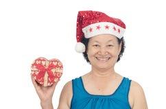 Πορτρέτο του ασιατικού ανώτερου κιβωτίου δώρων εκμετάλλευσης γυναικών Στοκ φωτογραφία με δικαίωμα ελεύθερης χρήσης
