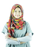 Πορτρέτο του ασιατικού μουσουλμανικού κοριτσιού στοκ εικόνες