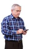 Πορτρέτο του ατόμου που χρησιμοποιεί το τηλέφωνο της Mobil Στοκ Εικόνες