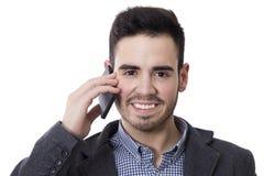 πορτρέτο του ατόμου της επιχείρησης που μιλά τηλεφωνικώς Στοκ Εικόνα
