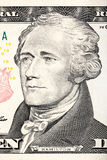 Πορτρέτο του Αλεξάνδρου Χάμιλτον από την κινηματογράφηση σε πρώτο πλάνο λογαριασμών δέκα δολαρίων Στοκ Εικόνες